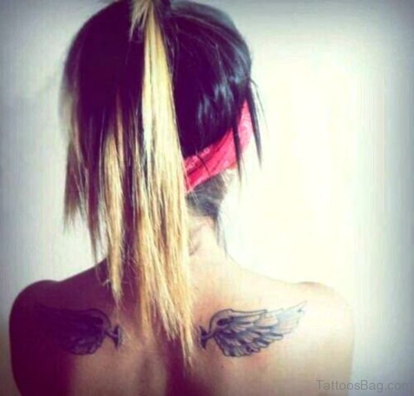2 Feathers Tattoo On Back Shoulder