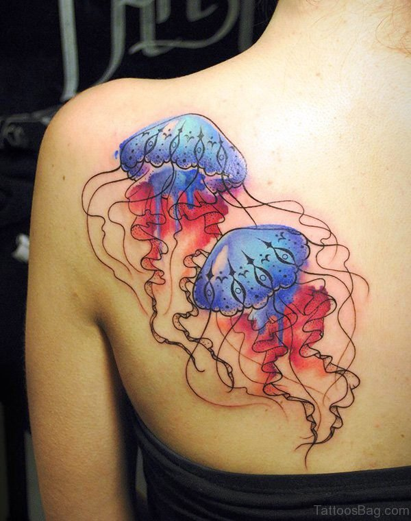 2 Jelly Fishes Tattoo On Back Shoulder