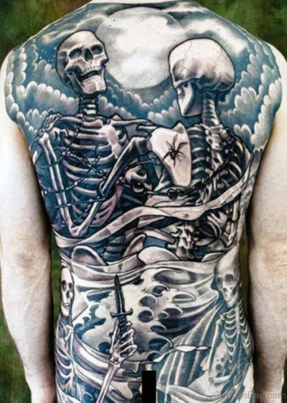 2 Skeletons Tattoo On Back