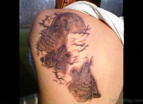 3 Alpha Wolf Tattoo On Back