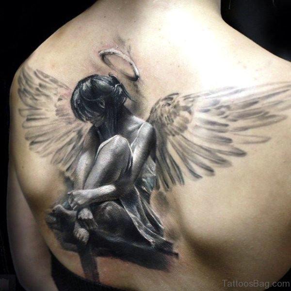 3D Angel Tattoo On Back