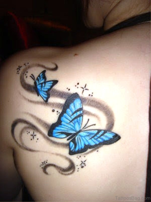 3D Blue Butterflies Tattoo On Shoulder