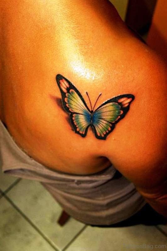 3D Butterfly Tattoo On Back Shoulder 1
