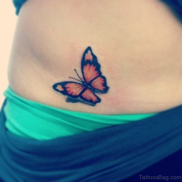 3D Butterfly Tattoo On Waist
