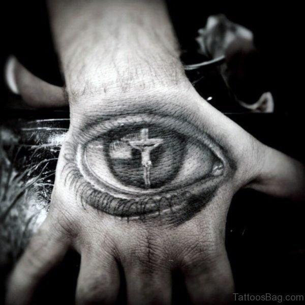 3D Christian Eye Tattoo On Hand For Men