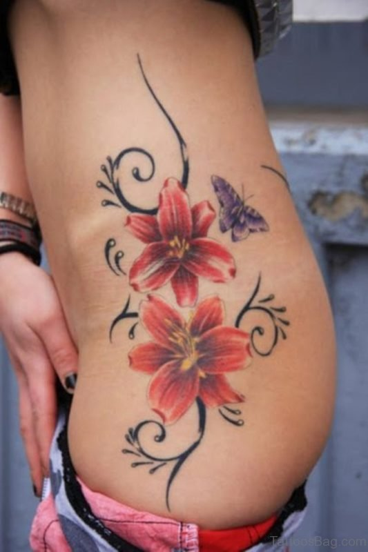 3D Flowers And Butterfly Tattoo
