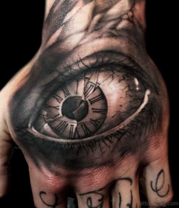 3D Fly On Eye Hand Tattoo
