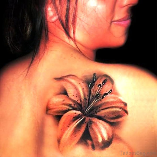 3D Lily Tattoo On Back Shoulder