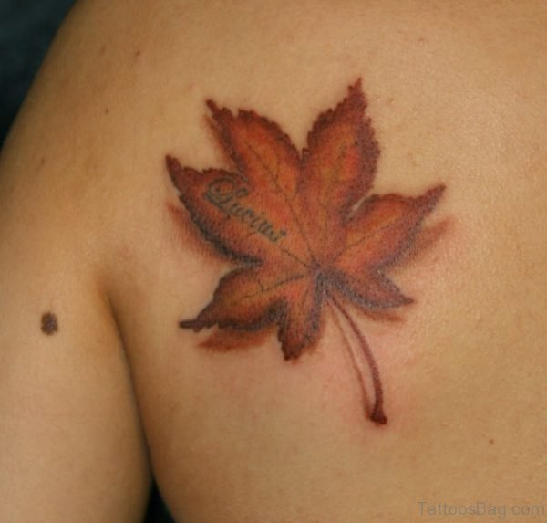 3D Maple Leaf Tattoo