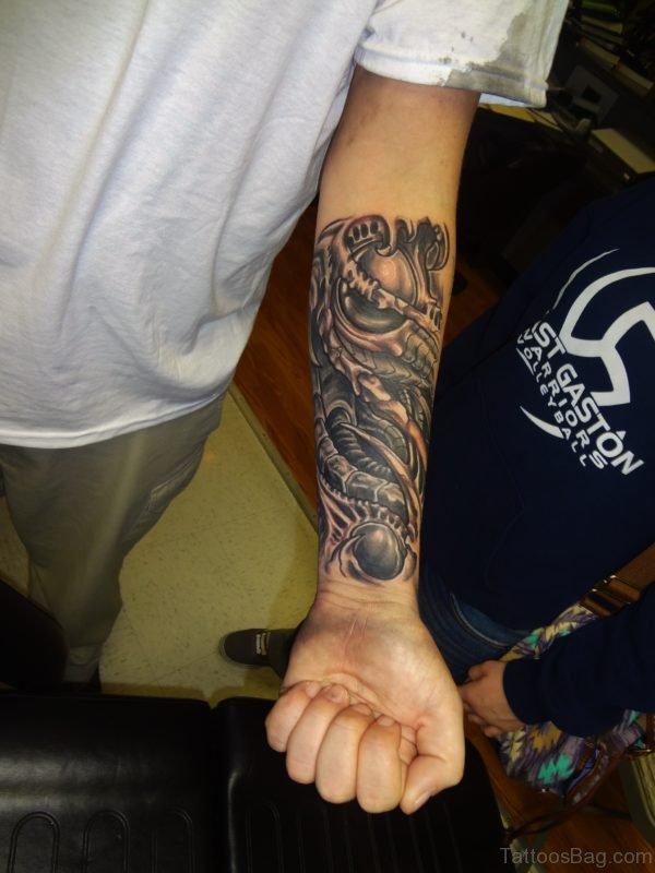 3D Mechanical Forearm Tattoo On Wrist