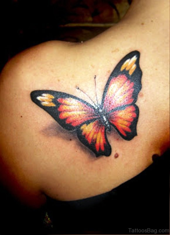 3D Red And Black Color Butterfly Design