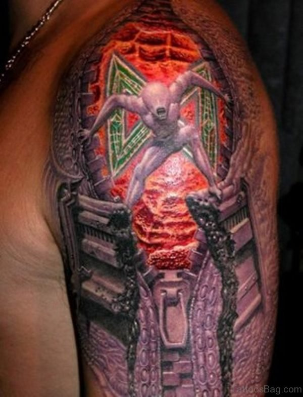 3D Red Colorful Alien Shoulder Tattoo
