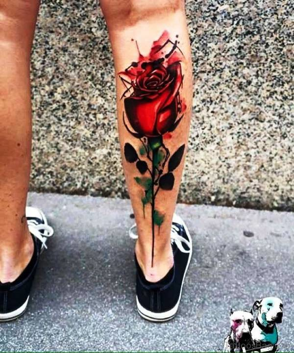 3D Rose Tattoo On Calf