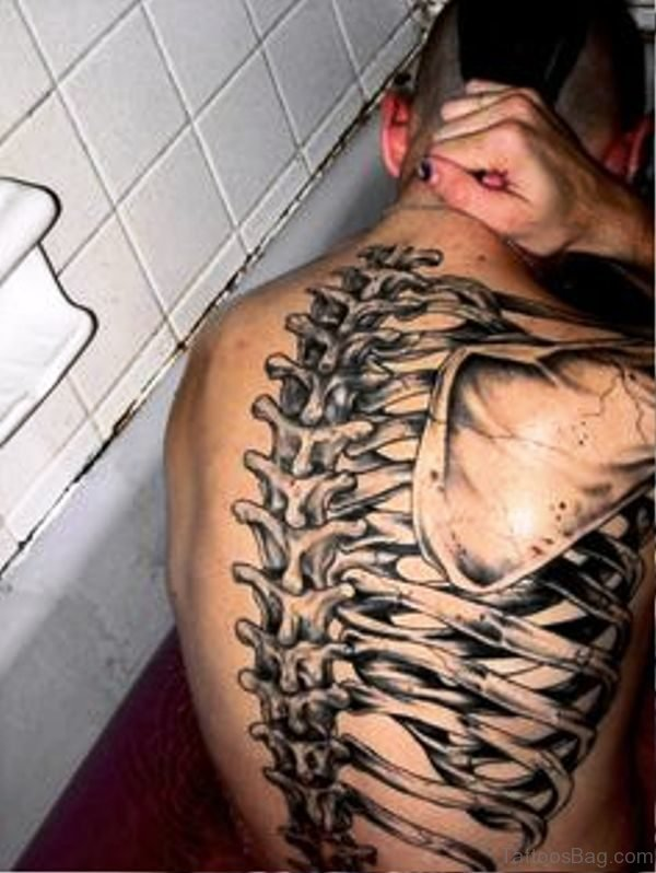 3D Skeleton Tattoo On Back