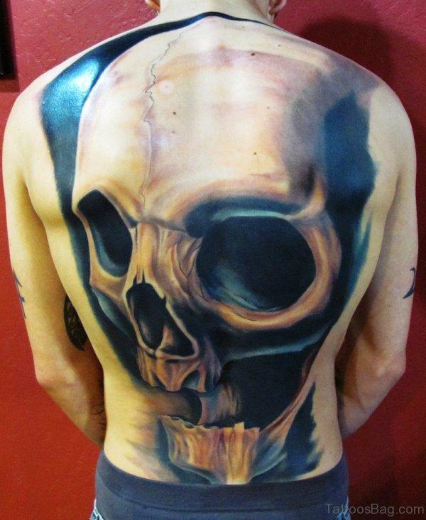 3D Skull Tattoo On Back