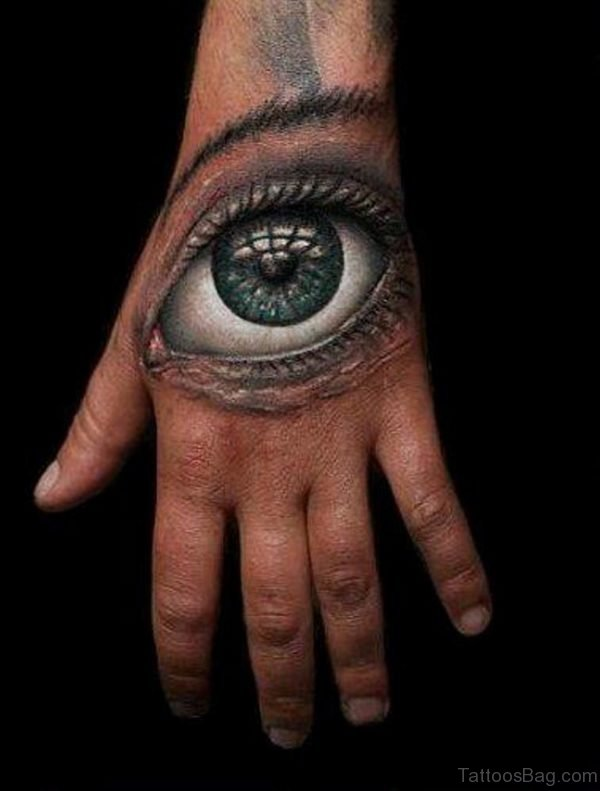 3d eye tattoo on left hand