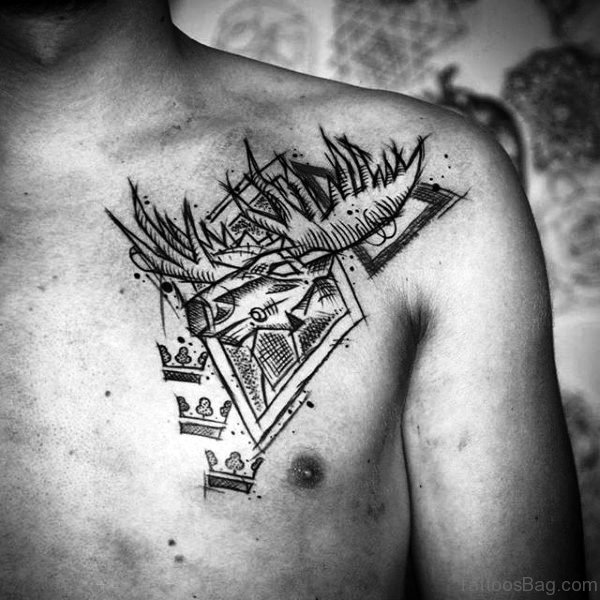 Abstract Antler Tattoo On Chest