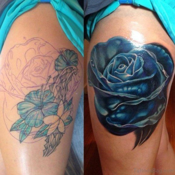 Abstract Blue Rose Tattoo On Thigh