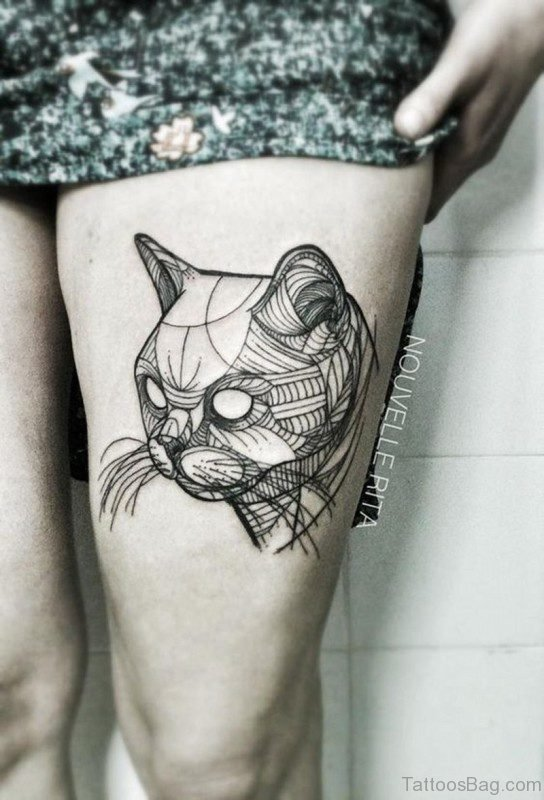 Abstract Cat Tattoo On Thigh