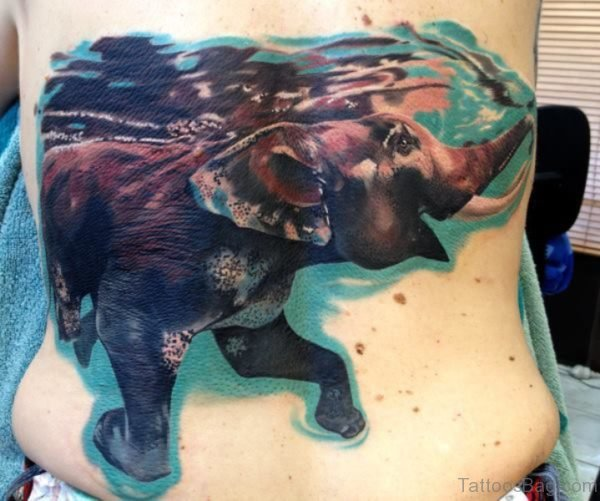 Abstract Colored Elephant Tattoo On Back