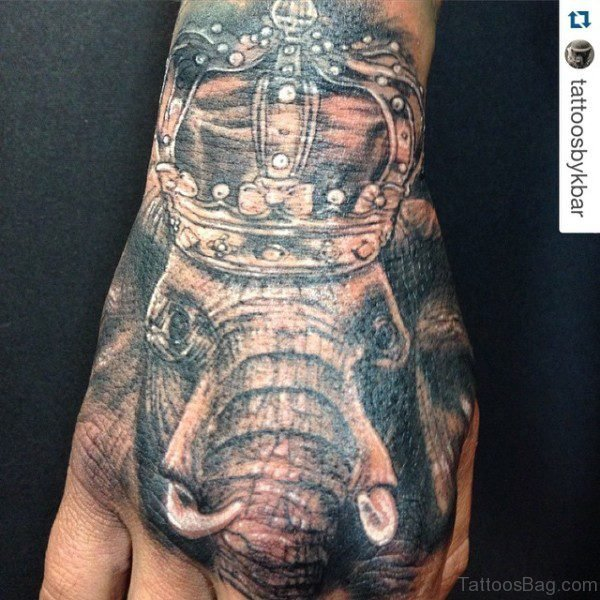 Abstract Elephant Tattoo On Hand 1