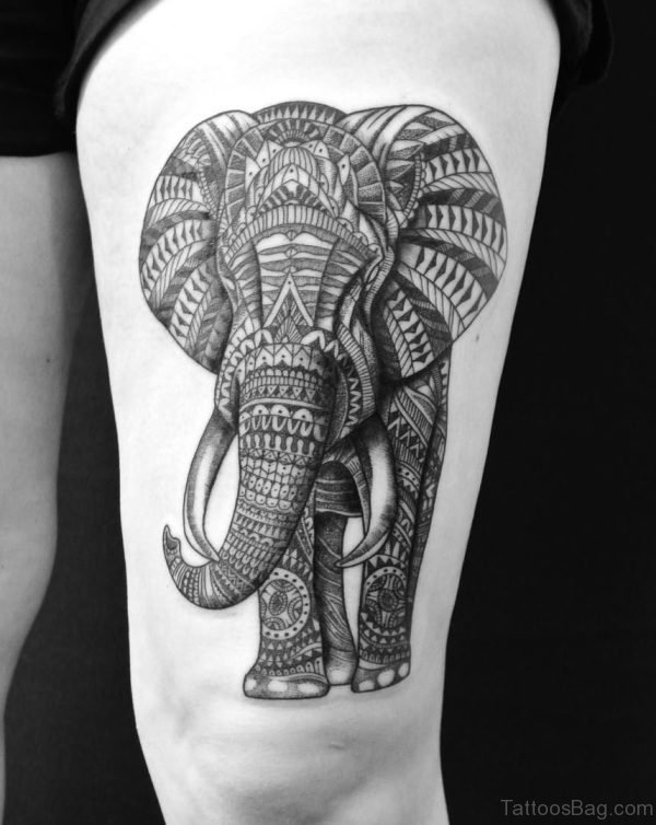 Abstract Elephant Tattoo on Thigh