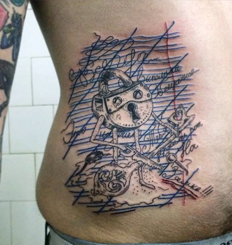 9d7d6dca4 Abstract Lock And Key Tattoo On Rib Cage Side