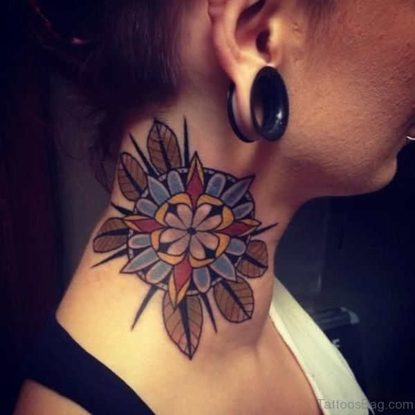 Abstract Mandala Neck Tattoo