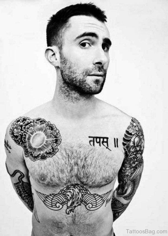 Adam Levine Black Tattoo On Chest