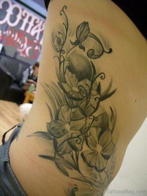 Admirable Daisy Flower Tattoo On Rib