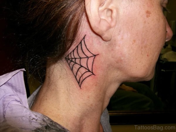Admirable Spiderweb Tattoo On Neck