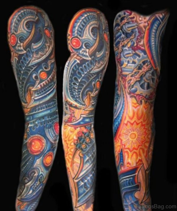 Admorable Biomechanical Tattoo On Full Sleeve