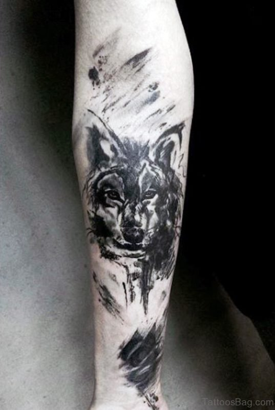 Adorable Alpha Wolf Tattoo On Arm