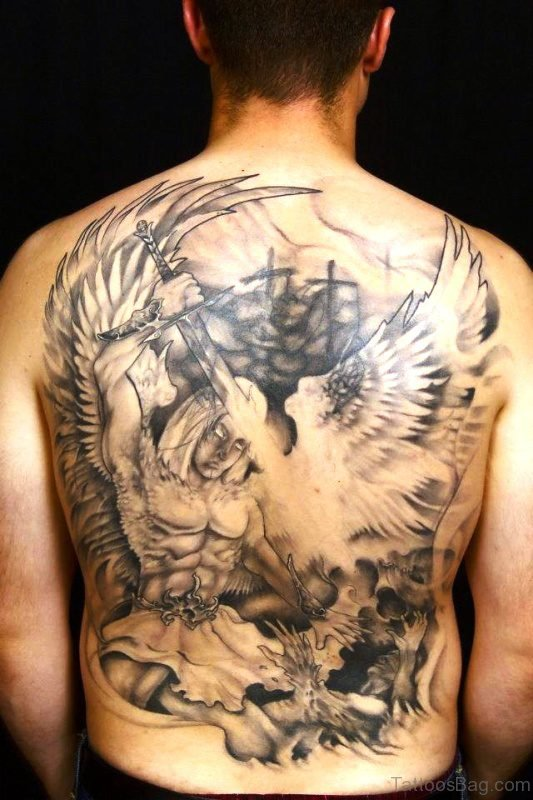 Adorable Archangel Tattoo On Back