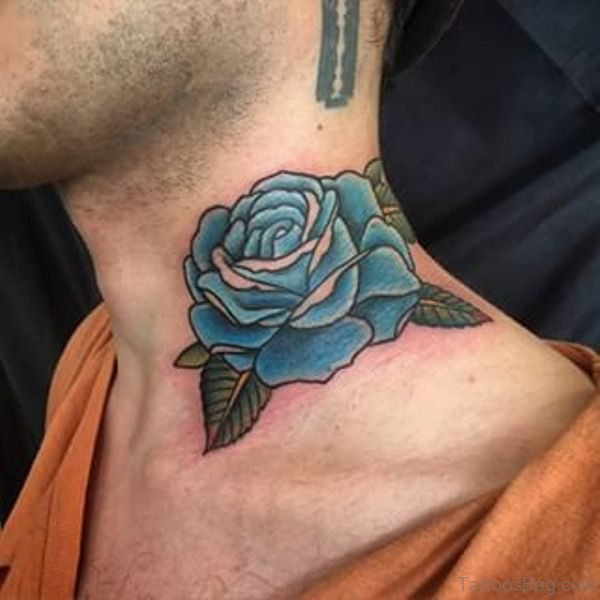 Adorable Blue Rose Tattoo On Neck