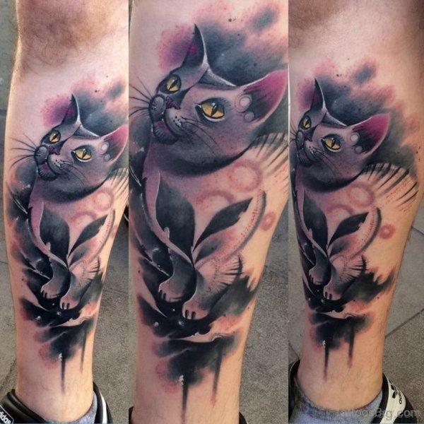 Adorable Cat Tattoo On Leg