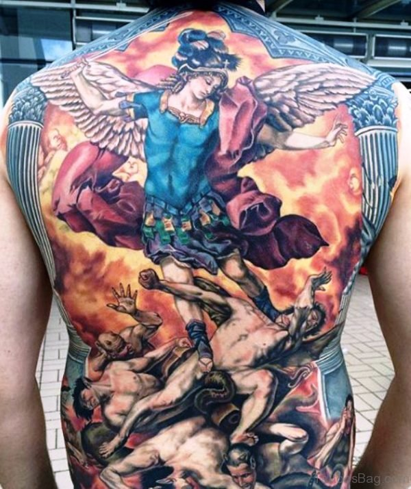 Adorable Colorful Archangel Tattoo On Back