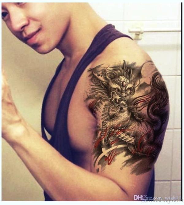 Adorable Devil Tattoo On Shoulder