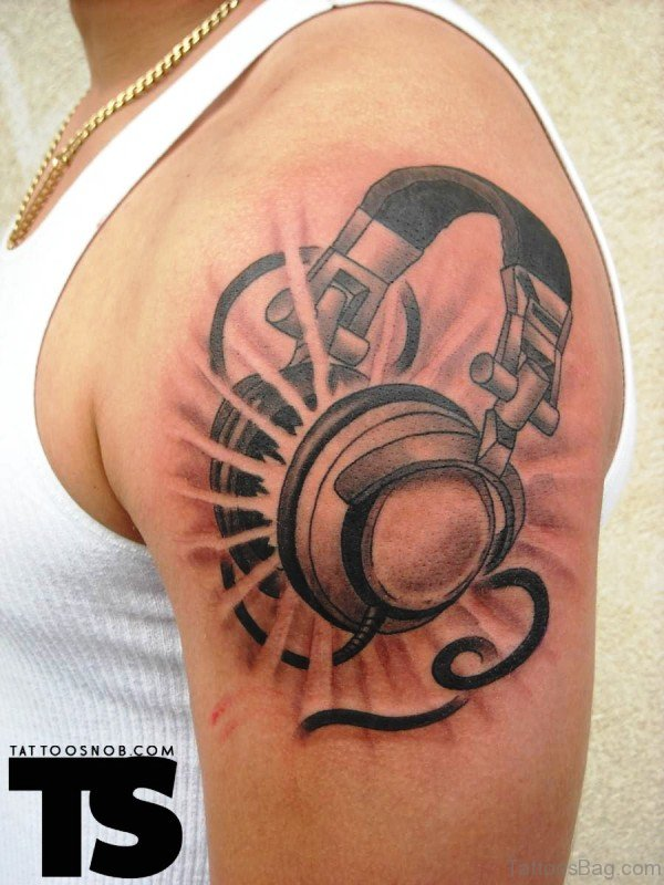 Adorable Headphone Tattoo On Shoulder