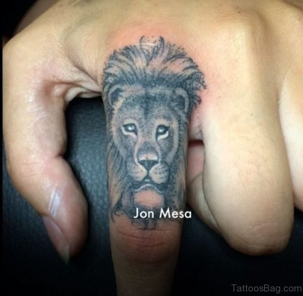 Adorable Lion Tattoo On Finger