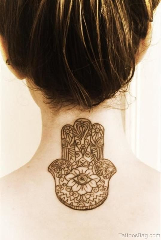Adorable Mandala Neck Tattoo