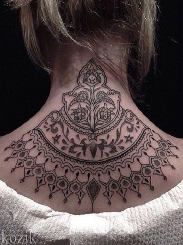 Adorable Mandala Neck Tattoo Design
