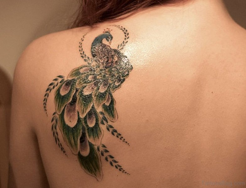 77 Classy Peacock Tattoo On Shoulder