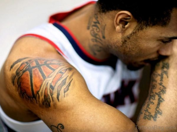 Adorable Ripped Skin Basketball Tattoo Design