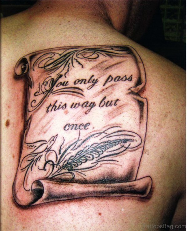 Adorable Scroll Tattoo On Back