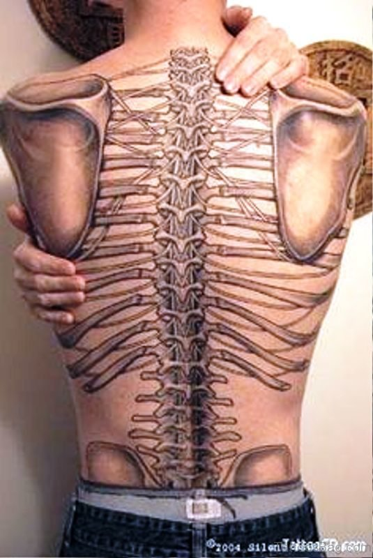Adorable Skeleton Tattoo On Back