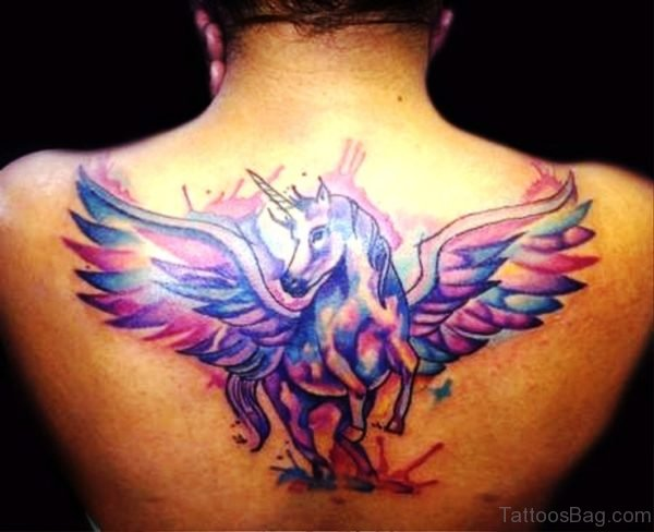 Adorable Unicorn With Wings Tattoo Design