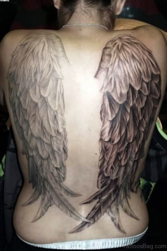 Adorable Wings Tattoo On Back