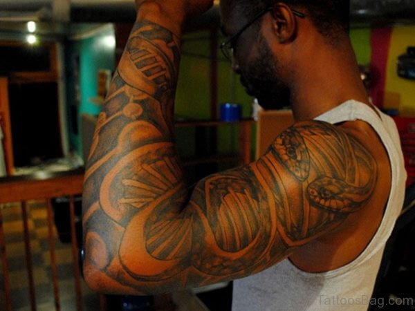 African American Best Tattoo On Full Sleeve