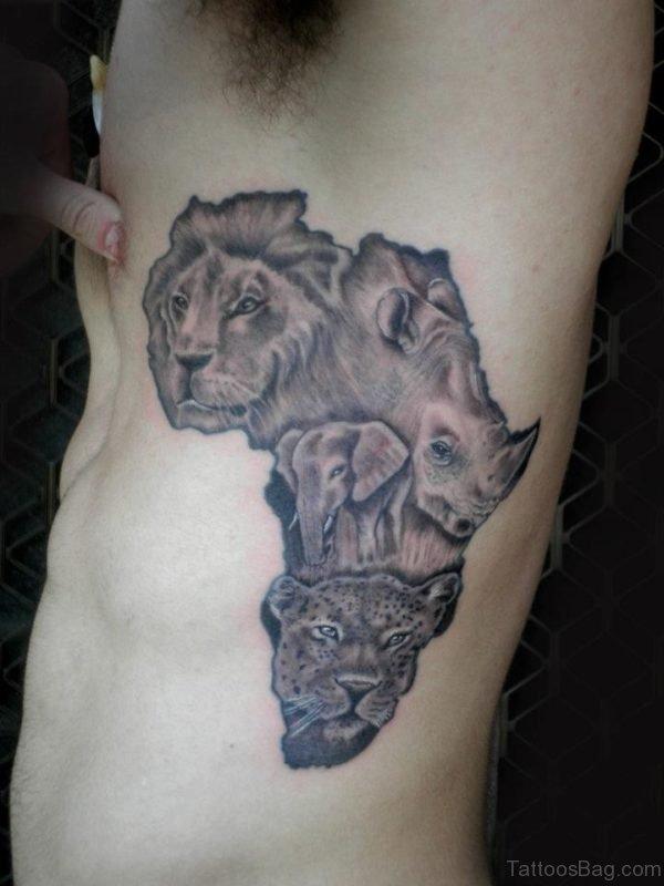 African Animal Tattoo On Rib